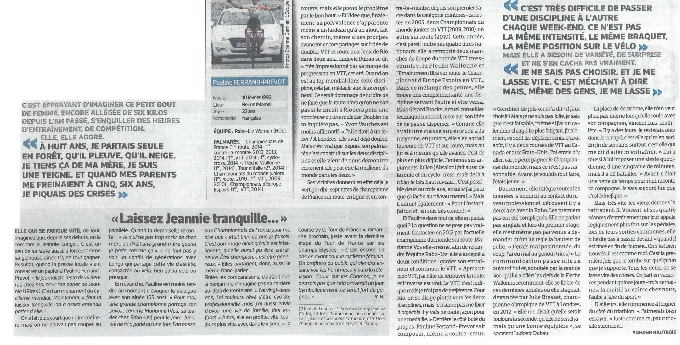 """Pauline dans """"L'EQUIPE"""" du 25 juillet 2014"""